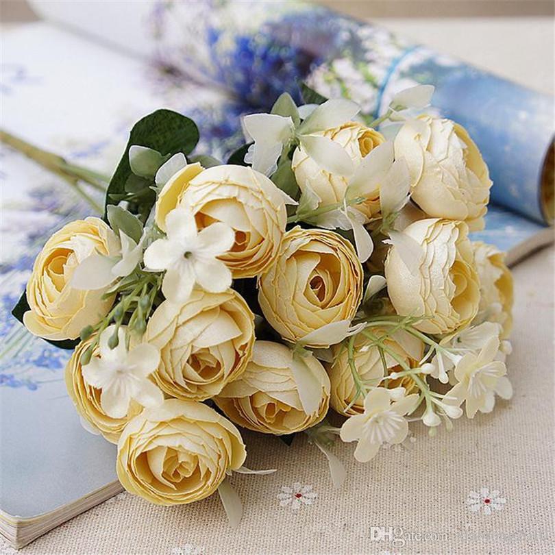 """Sahte Avrupa Camellia Demet 29cm / 11.41"""" DIY Gelin Mini Çiçek Petal ile Uzunluk Yapay Çiçekler Tea Rose Bouquet Aksesuarları"""