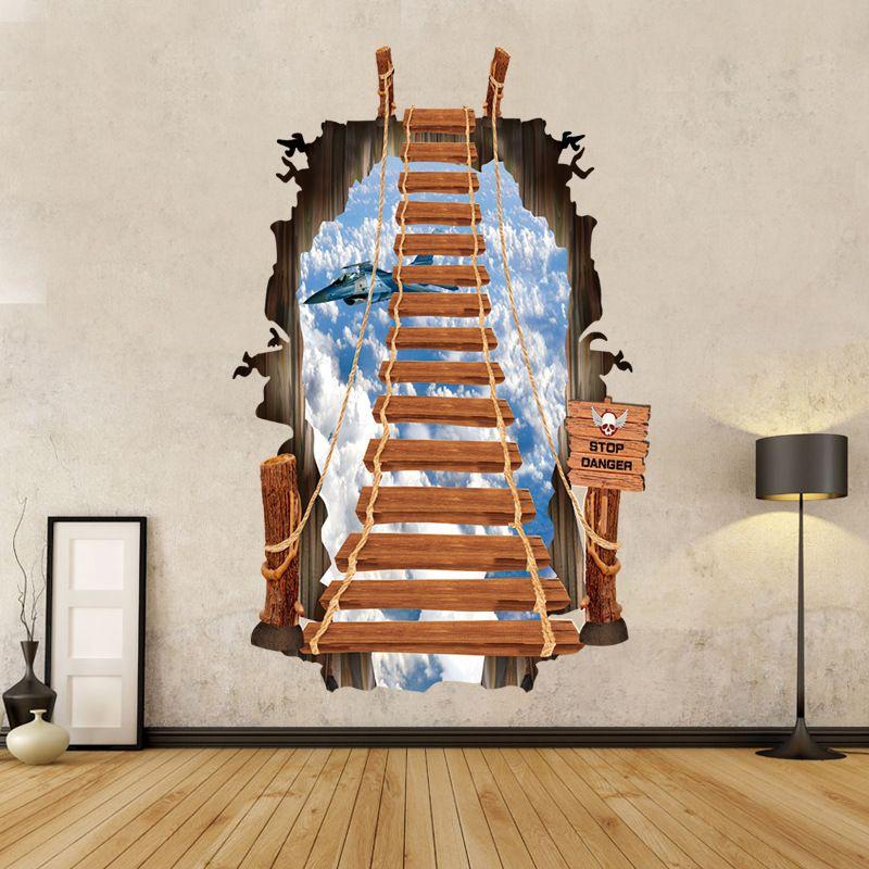 1 unid 3D Escalera Wallstickers Para Niños Sala de estar Wallpaper Art Stikers Decoración de Navidad Pared Decorativa de Vinilo de Cerámica
