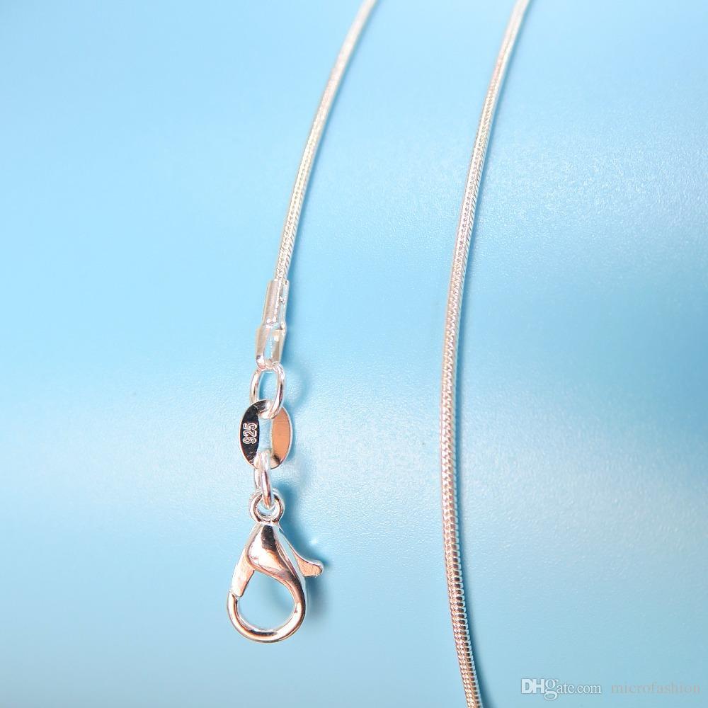 925 Silber Frauen Schmuck Halskette 1,2 mm Schlangenkette Länge von 16 bis 24 Zoll von Männern Schmuck + 925 Karabiner Tag