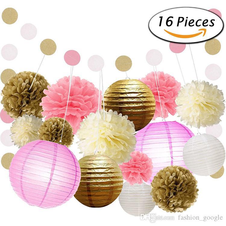 16 Pieces 1 Set Wedding Arch Decoration 2017 Garden Beach Boho Weddings Wedding Party Tissue Paper Pom Pom Kids Birthday