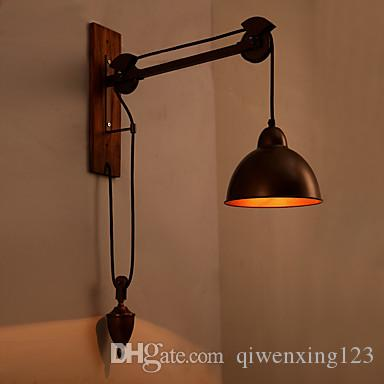 Industrial Retro Loft Wall Lamp Iron Pulley Spindleght S Liconces Lighting Coffee Shop Bar Wood Wall sconce Edison Vintage Lighting Fixture