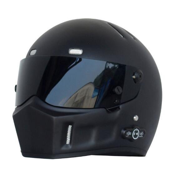 NEW High quality Full Face Fiberglass bluetooth motorcycle helmet Kart helmet For Top Gear The Black Stig Helmet Capacete Casco