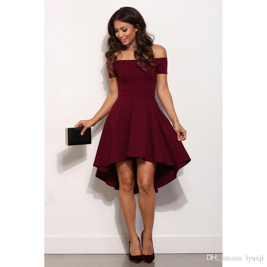 Compre Nuevo 2017 Moda Bodycon Mujeres Vestido De Noche Slash Neck Fishtail Vestidos Vestido De Fiesta Vino Rojo Venta Al Por Mayor A 3518 Del