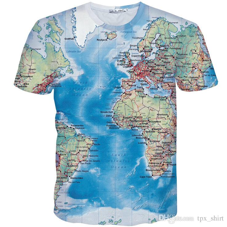 World map T shirt Atlantic sea short sleeve gown Nice 1991Inc design tees Street printing clothing Unisex cotton Tshirt