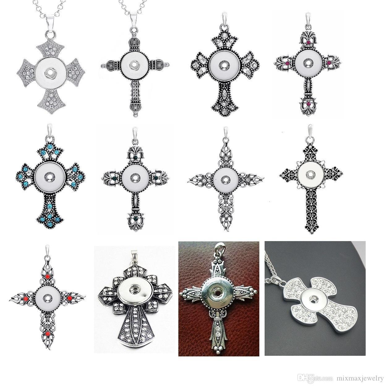 Commercio all'ingrosso 10 pezzi stili misti 18mm intercambiabili gioielli fai da te con bottone a scatto a scatto pendente collana con catena