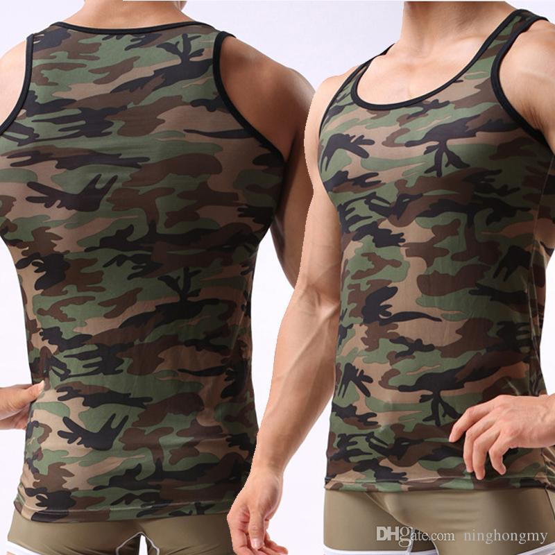 New Mens Vest Breathable sexy Clothes Man Military Camouflage Sleeveless Tank Tops Clothing Slim Singlet Tanks Muscle Shirt free shipping