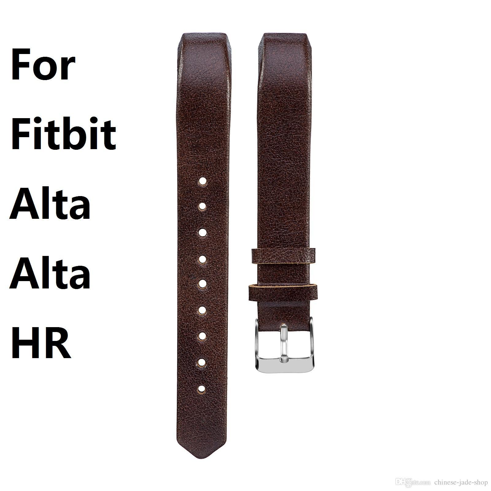 Cinturino in pelle di vacchetta per fodera Cinturino in cuoio genuino per Fitbit Alta Alta HR Cinturini per cinturini Bracciale 10 colori 30PAIR / LOT