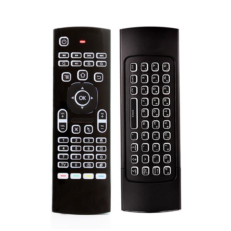 X8 Arka Işık Mini Klavye 2.4 GHz Kablosuz Klavye Uzaktan Kumanda IR Öğrenme 6 Eksen Sinek Hava Mouse Backlit Gampad Android TV Kutusu için
