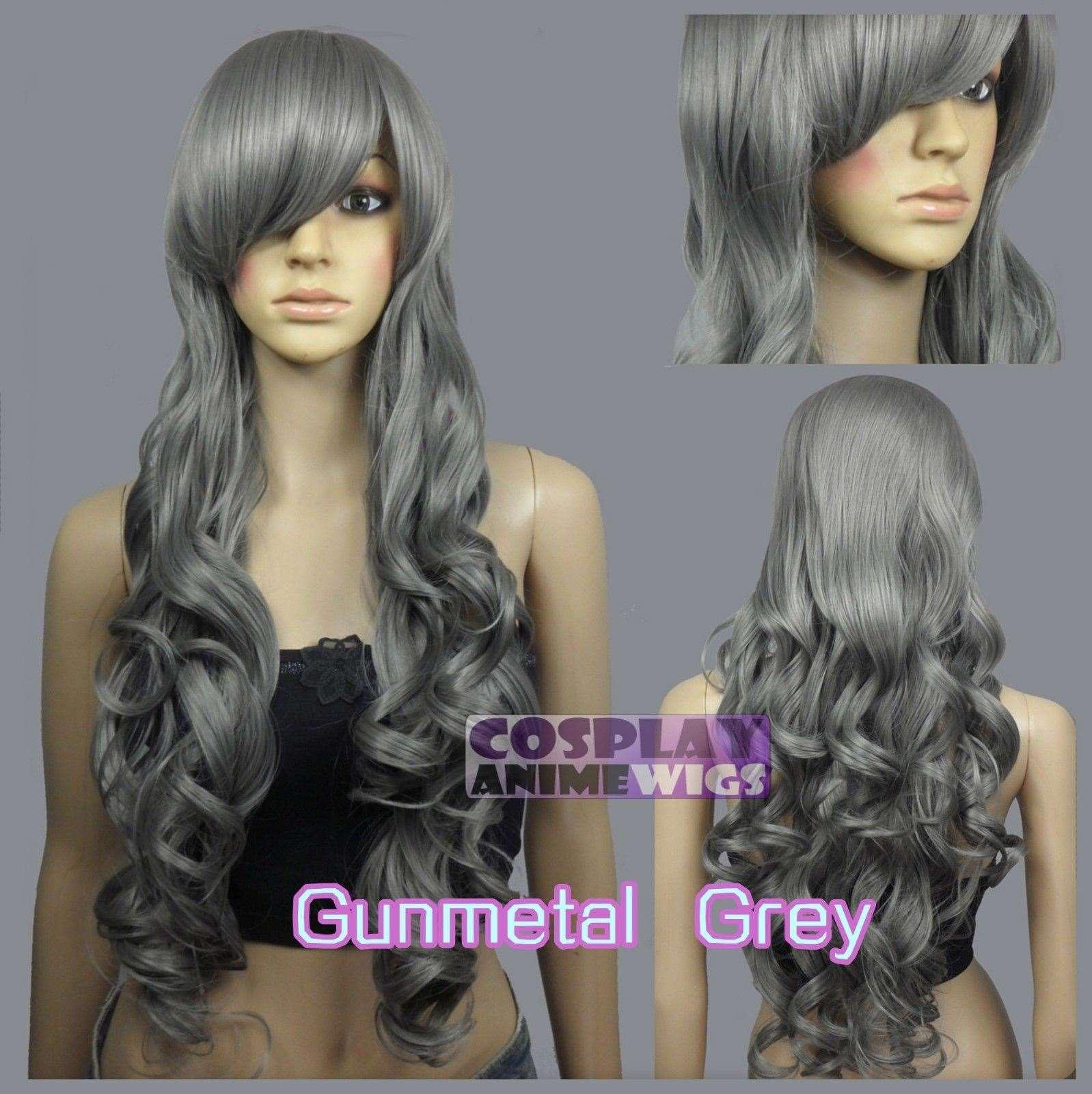 Parrucche lunghe riccamente ricamate lunghe 80cm Gunmetal grigio calore 967_171