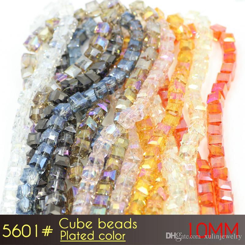 유리 faceted 큐브 비즈 10mm 도금 된 색상 A5601 80pcs / 설정 보석에 대 한 느슨한 사각형 유리 구슬