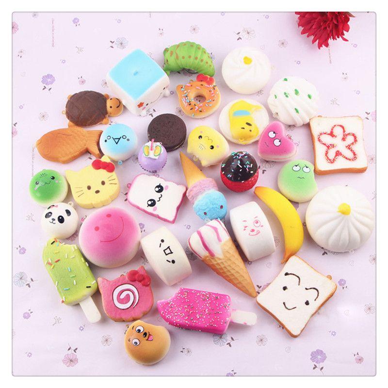 New Squishies Mini Squishy Phone Straps Random Foods Phone Charm Key Chain Strap Lovely Soft Bread Cake Ice Cream Squishies Fidget Toys