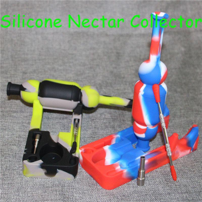 Silicon Nectar Narghilè con chiodi in titanio da 10mm e strumenti dabber raccordi in silicone a mano corto Raccoglitore di nettare in silicone SiliNectar DHL