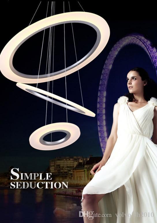 Il controllo dimmer LED Design moderno Dimmable Led Pendant Light 3 grande anello: 80 cm centrale: 60 cm little ing: 40cm Anelli Glassato AcrylicLLFA