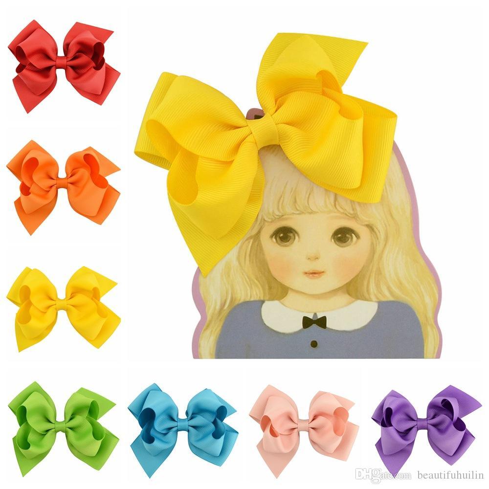 20Pcs 4.5 Inch Fest Band Haarschleife mit Klipp-Kind-Mädchen-Boutique Bogen Haarspangen Haarnadeln Kinder-Haarschmuck Schönen Huilin C87