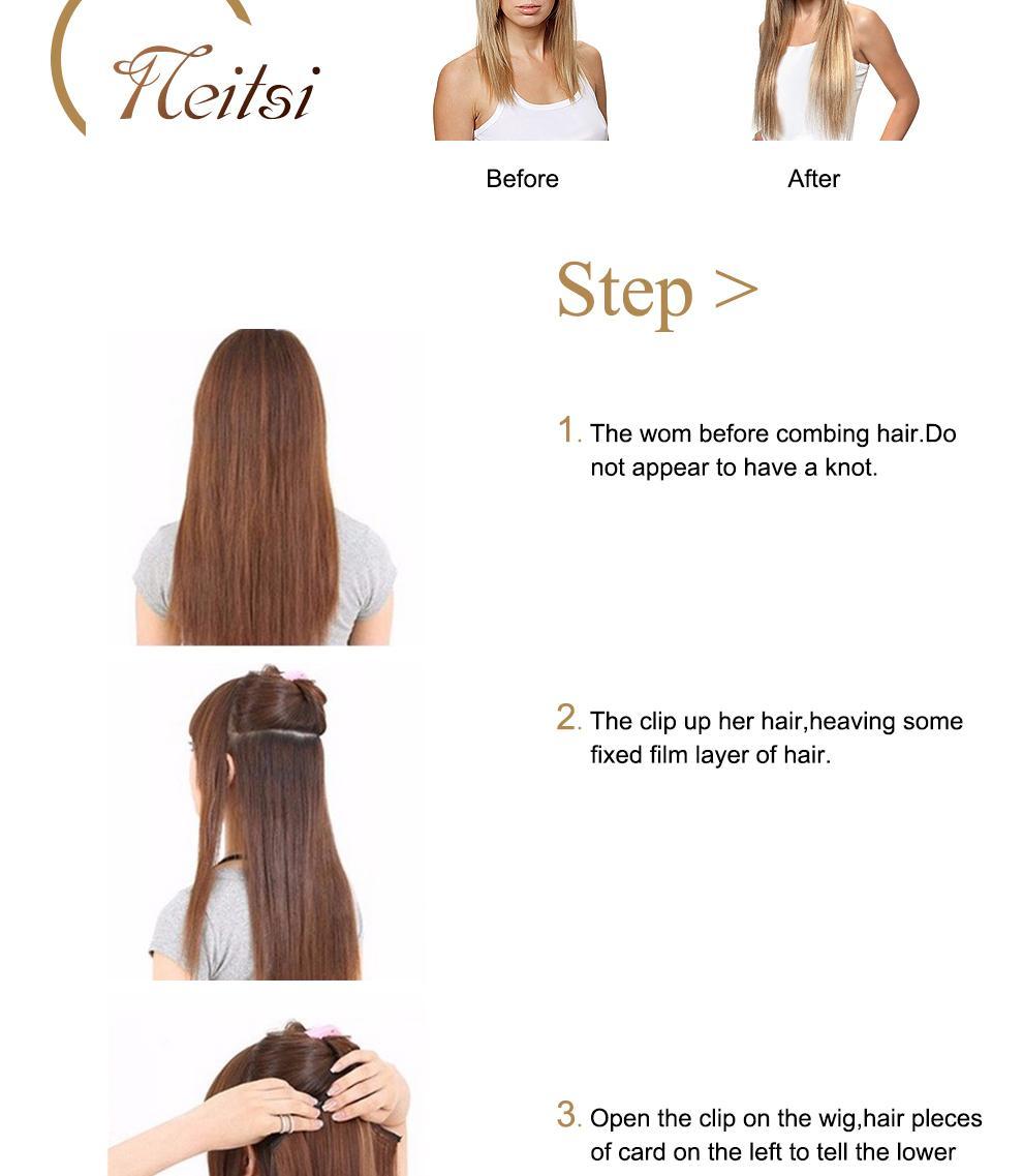 Neitsi 20 Fashion Straight Clip Inon Brazilian Human Hair