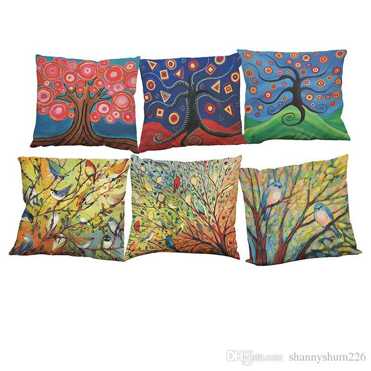 New Chic Birds Flowers Cotton Linen Pillow Case Decorative Cushion Cover 50*50cm