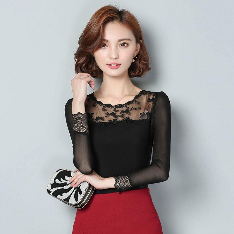 Новые кружева женские рубашки корейской моды выдалбливают о-образным вырезом с длинным рукавом женский шифон блузка сексуальная слизь печатная рубашка плюс размер M-3XL