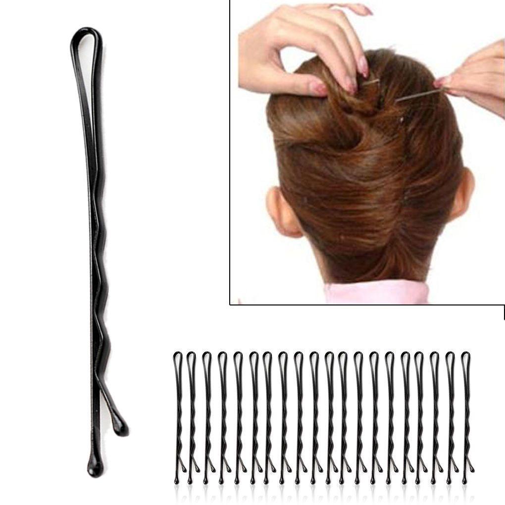 60 unids Moda Negro de la Mujer Bobby Pins Invisible Wave Hair Grips Salon Barrette Horquilla Clips de pelo de las señoras Barrette