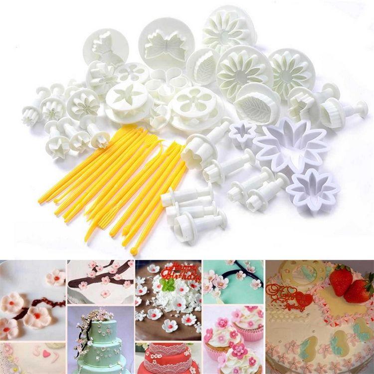 47 piezas émbolo Fondant cortador pastel herramientas galleta pastel molde artesanía DIY 3D Sugarcraft pastel decoración herramientas flor conjunto