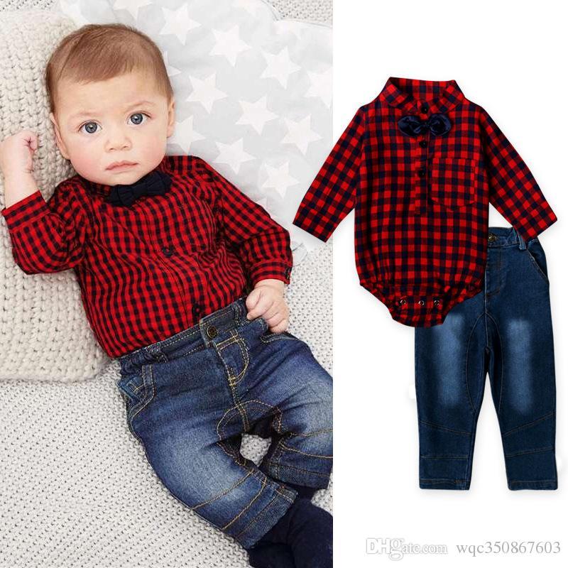 2pcs Newborn Baby Boy Fall Clothes Tie Romper Tops+Lattice Bib Pants Outfits Set
