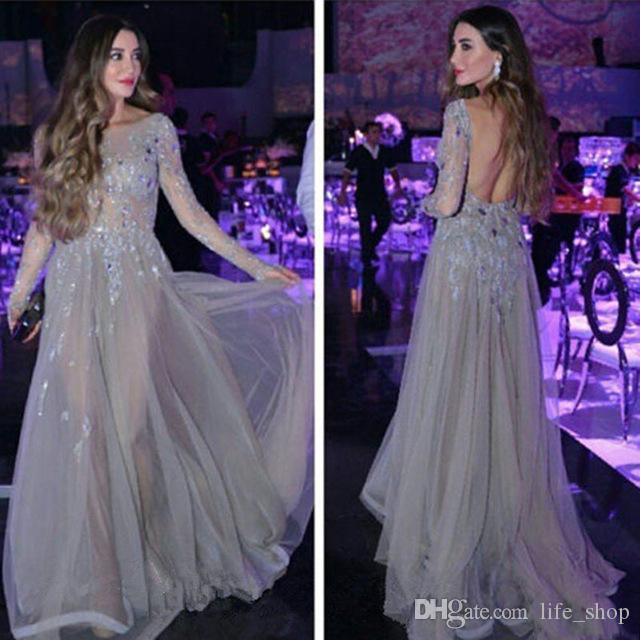 Halbtransparente sexy rückenfreie Abendkleider mit langem Ärmel A-Linie Applikationen Pailletten Sweep Zug Abendkleider