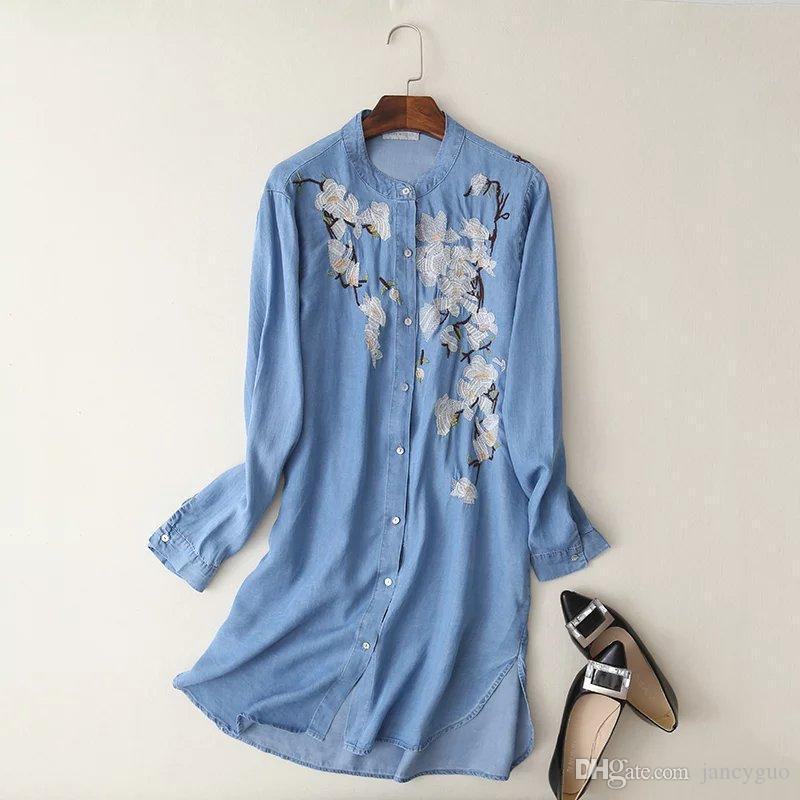 Nouveau 2017 Vintage Fleur Broderie Tencel Denim Long Femmes Blouse Chemises Femelle Col Montant À Manches Longues Plus La Taille Blusas Vêtements Pour Femmes
