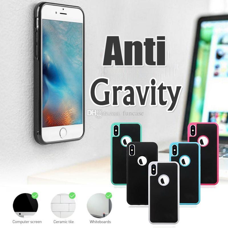 Anti-gravidade adsorção pegajosa mágica nano selfie híbrido capa de plástico case para iphone xs max xr x 8 7 6 plus samsung s10 e s9 s8 s7 nota 9