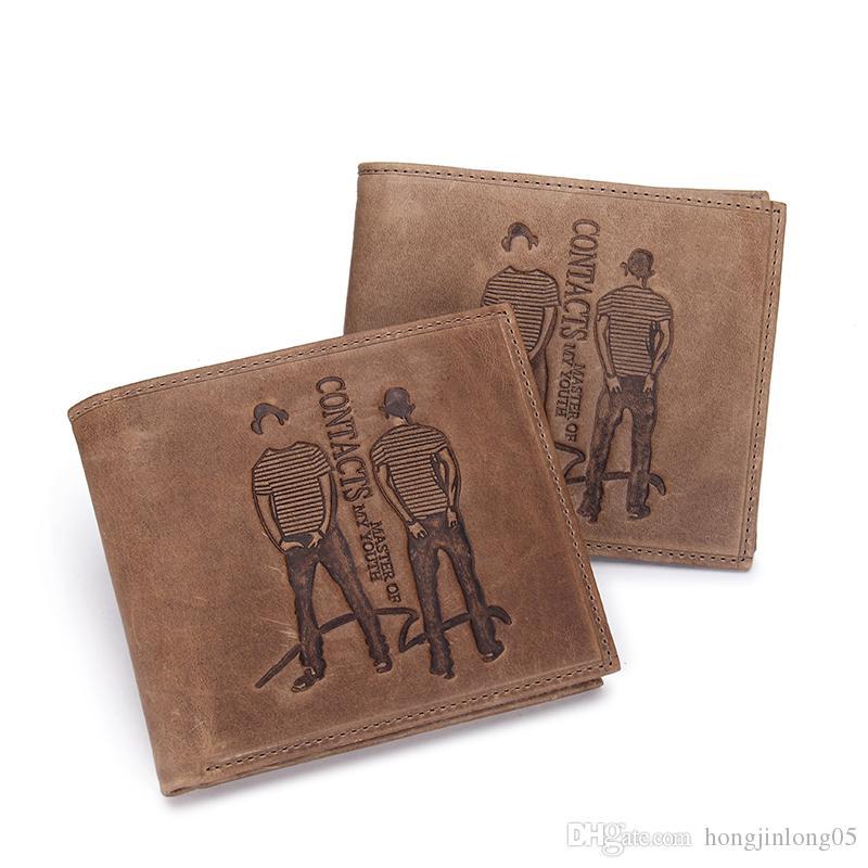 정품 미친 말 소 가죽 가죽 남성 지갑 고품질의 브랜드 지갑 지갑 얇은 동전 지갑 carteira masculina M2002