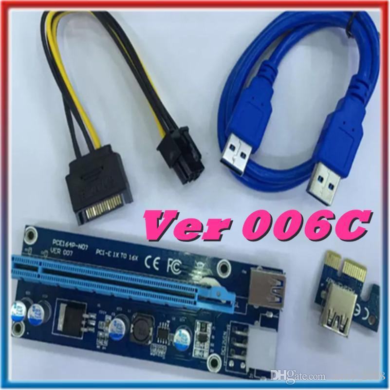 الإصدار Ver 006C الجديد من Bitcoin Miner Riser PCI-E PCI-E Express 1X إلى 16X بطاقة الرسومات