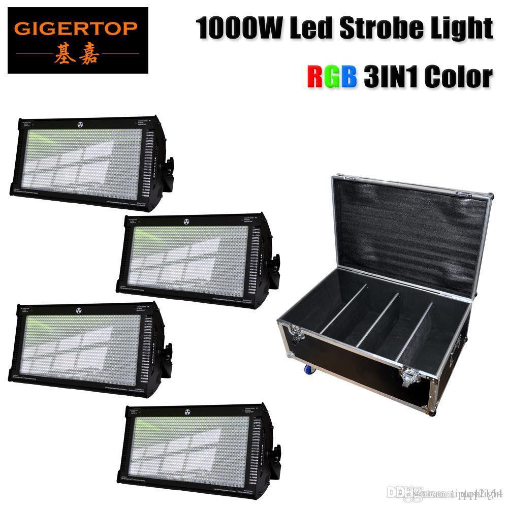Gigertop 4em1 Flightcase com rodas RGB LED Strobe Light Stage DMX-512 PAR Disco DJ Party iluminação 1000W alta brighness