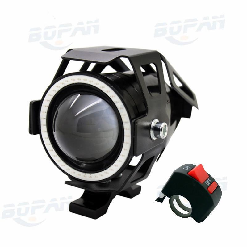 1pcs with Switch Motorcycle LED Headlight Fog Light CREE Chip U7 125W 3000LM Devil Angel Eye DRL Daytime Running Light BK
