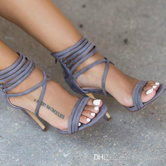 Roman Style New Solid Colors Cross Ankle Strap Sexy Fashion High-heeled sandals 2 Color Choose Dark Green and Light Grey