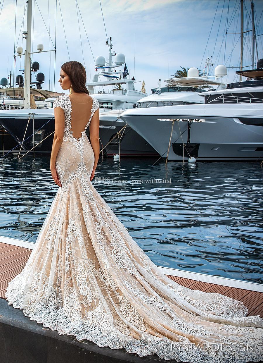 Blush Lace Mermaid Wedding Dresses 2017 Crystal Design Vestido De ...