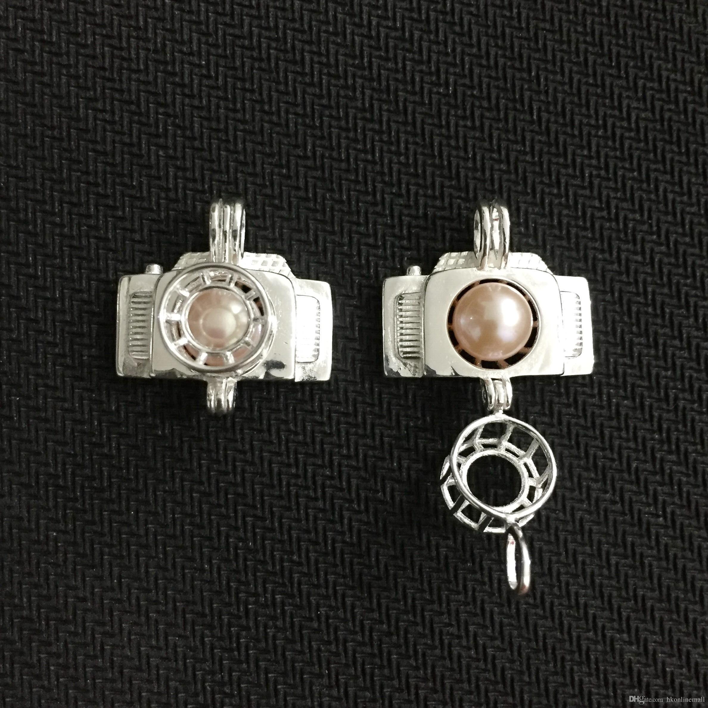 925 Gümüş İstek Boncuk Kolye Madalyon / Kamera Kafesini Açabilir
