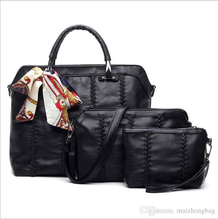 2017 new winter sheepskin leather 3 pcs/set handbag shoulder bags lady and the wind lash bag hand woven Crossbody Clutch Bag