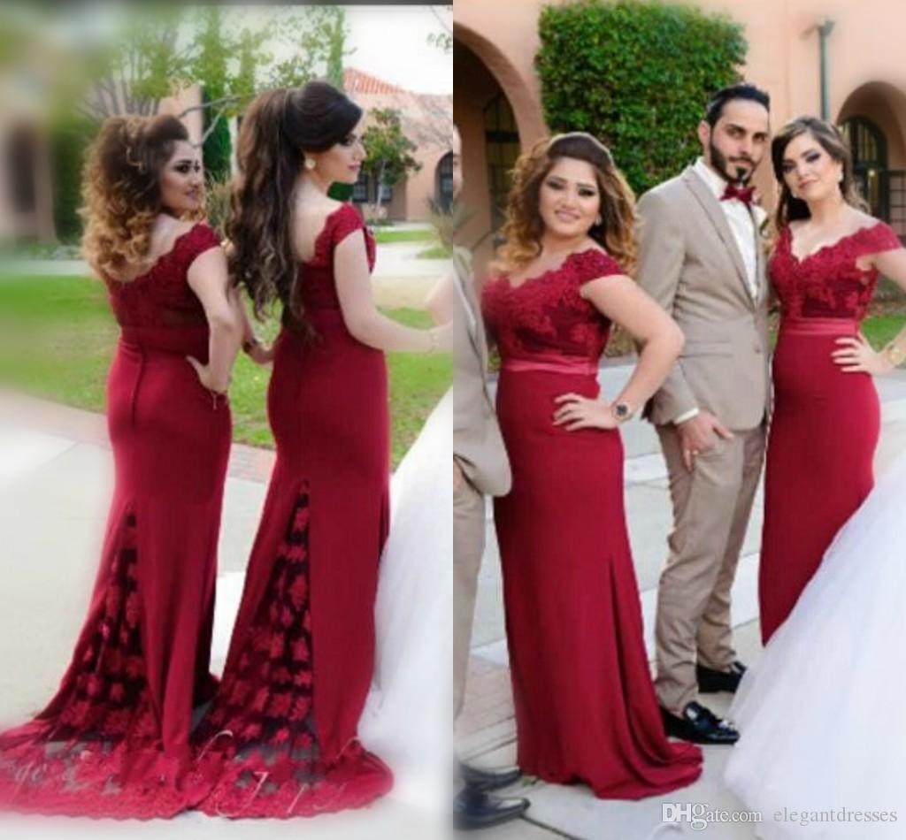 Elegant Dark Red Off Shoulder Bridesmaid Dresses For Wedding 2017 Lace Mermaid Back Covered Buttons Formal Party Gowns Evening Dresses