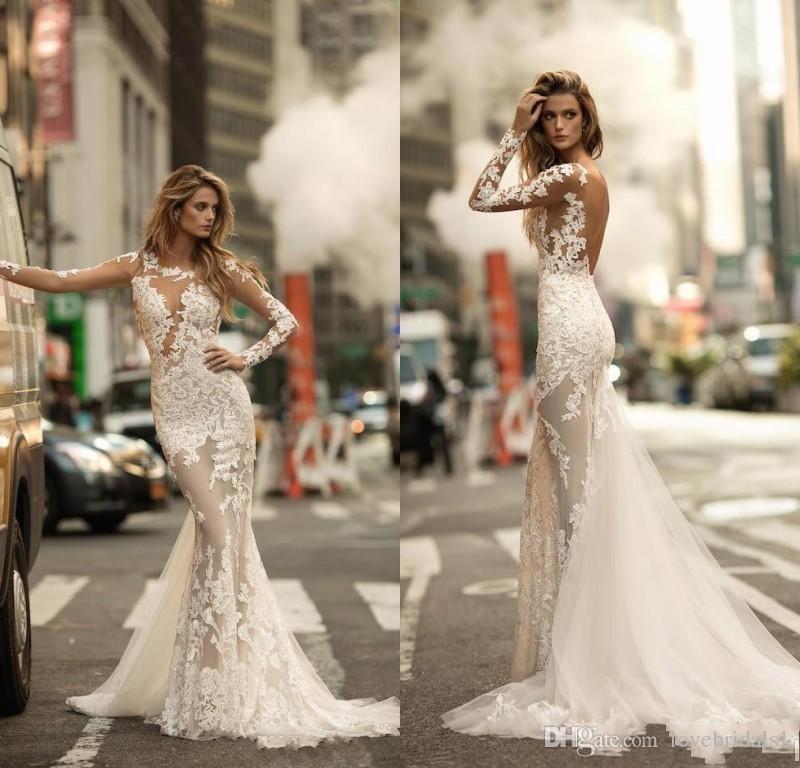 2017 Wspaniałe Długie Rękawy Syrenki Suknie Ślubne Sexy Sheer Full Lace Appliqued Bridal Sukienka Zobacz przez backless Suknie ślubne