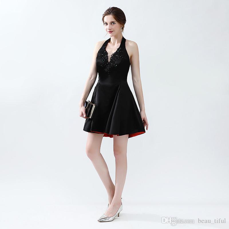 뜨거운 판매 댄스 파티 드레스 2020 홀터넥 목에 크리스탈 미니와 함께 위의 섹시 패션 이브닝 드레스 가운 드 Soiree 파티 드레스