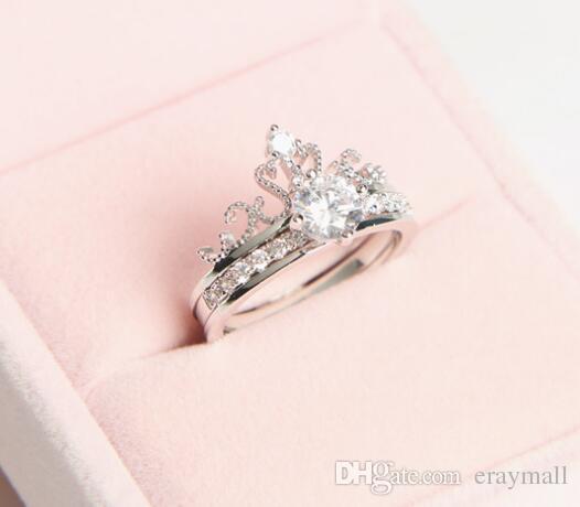 Микро Циркон двойной корона кольцо сочетание Алмаз корона набор колец три цвета можно выбрать