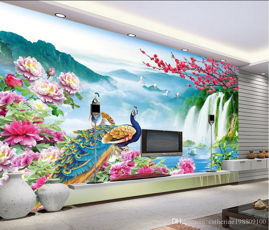 Wonderland Peacock Landscape Scenery Tv Background Wall Mural 3d Wallpaper 3d Wall Papers For Tv Backdrop Mobile Wallpaper Mobile Wallpaper Download From Catherine198809100 5 81 Dhgate Com