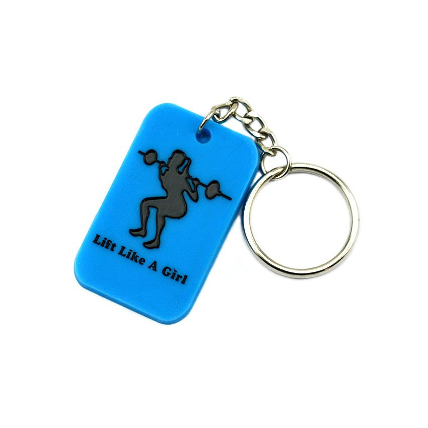 1PC Debossed Lift Like A Girl Silicone Dog Tag Keychain Perfect To Use In Any Benefits Gift