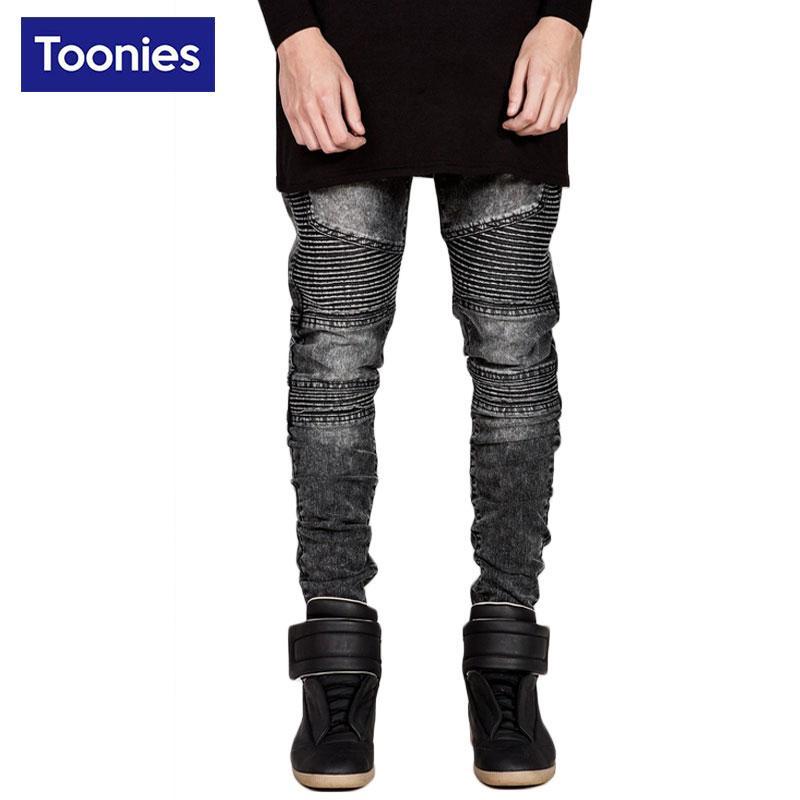 Wholesale- 2017 Spring New Fashion Motorcycle Men Jeans Mid Waist Hip Hop Skinny Biker Jeans Men 3 Colors Stretch Mens Jeans Denim Pants