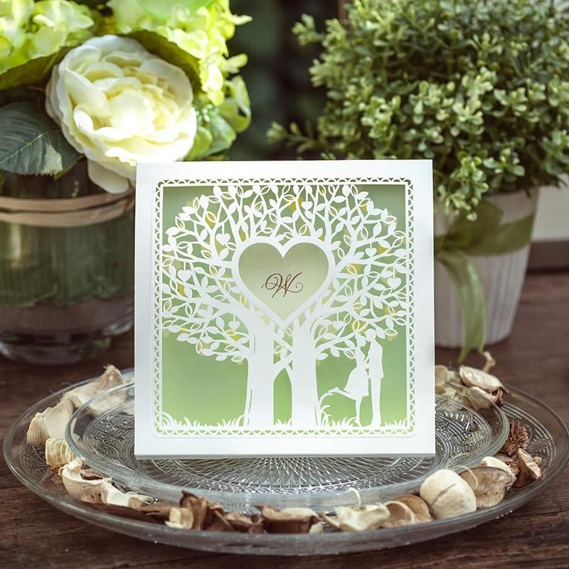 Toptan-Yeşil Düğün Davetiyeleri kartları, Zarif Lazer Kesim Düğün Davetiyeleri, Kişiselleştirin Özelleştirmek, Ücretsiz kargo, baskı