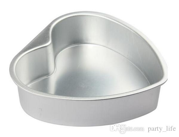 10pcs / lot, 5 인치 베이킹 도구 금형 알루미늄 합금 심장 모양 케이크 호퍼 케이크 제빵 도구 스텐실 과자 도구