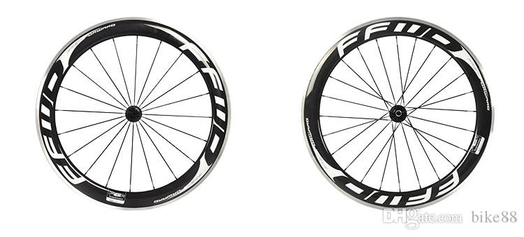 FFWD F6R 60mm road bike wheels white black fast forward bicycle carbon wheelset alloy surface 3k glossy clincher with powerway hubs wheels