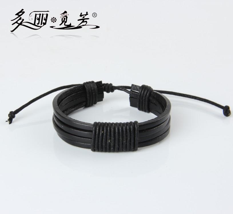 Оптово-PSL070 черный плетеный регулируемый кожаный покроя ювелирные изделия браслет манжеты мужчин женщин 2шт/много