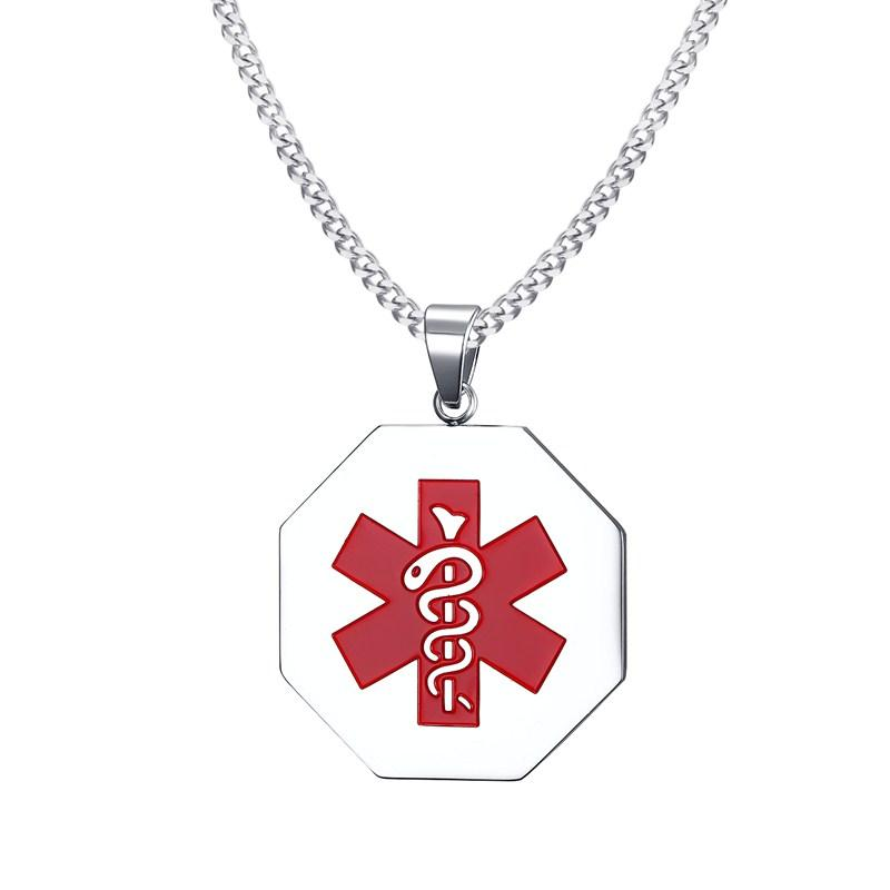 316L Stainless Steel Medical Alert ID Pendant Necklace with Free Engraving 24