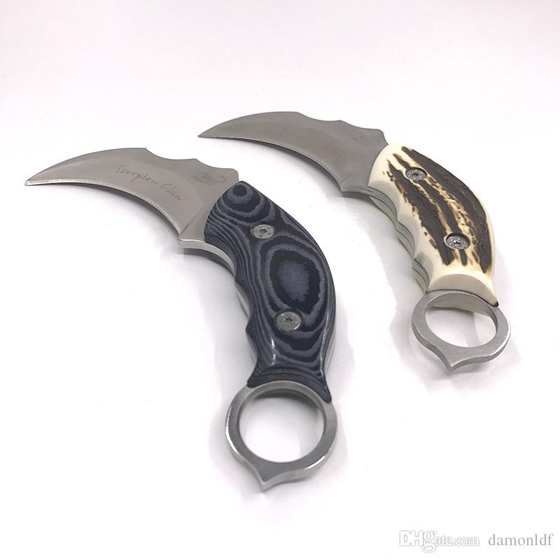 CSGO Claw Titanium Karambit Fixed Blade Knife Resin Micarta Handle Outdoor AUS-8A Balde Camping Survival Hunting Leather Sheath Military EDC
