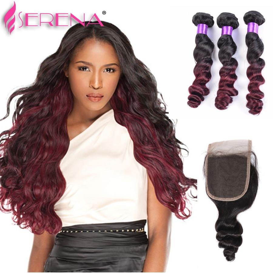 Mink Brazilian Virgin Hair Body Wave with Closure 1b 99J Burgundy Ombre Brazilian Hair With Closure Lace Closure With Bundles Loose Wave