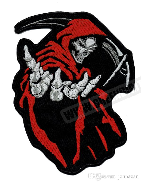 Fashion 5 Grim Reaper Red Death Rider Vest Embroidery Patches Rock Motorcycle MC Club Patch Iron On Leather Wholesale Free Shipping